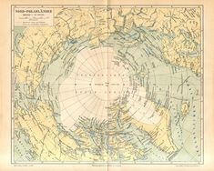 1890 Antique Map of the Arctic Region of the Earth with Greenland and the North Pole