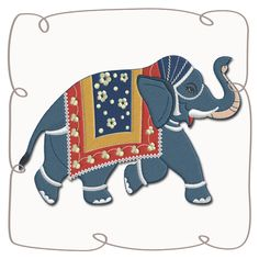 Bali Elephant 4 Machine Embroidery Design Pattern-INSTANT DOWNLOAD