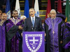 President Barrack Obama eulogizes slain South Carolina Pastor and Senator Clementa Pickney on Friday, June 26, 2015.