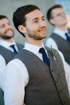 Crisp white shirt, navy blue tie, grey vest, casual groom attire // Amy Jackson Photography