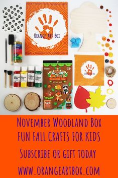 November Orange Art Box - Occupy your loved ones this holiday season with a November Orange Art Box! Create Colorful Scratch Leaves, Adorn Your Wooden Tree, Decorate Wood Slices, and so much more. Fall Crafts For Kids, Art For Kids, Project Ideas, Art Projects, Foam Paint, Orange Art, Wooden Tree, Toddler Art, Paint Drying