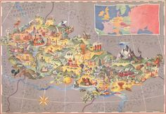 Apr 22 2012: Four Hand-Painted Maps Of Socialist Czechoslovakia With Folklore Motifs (CSSR, 1957)