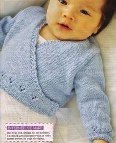 knitting baby crossover cardigan free pattern - Google Search