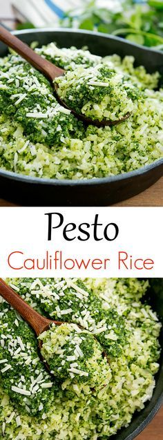 Pesto Cauliflower Rice Cauliflower rice is flavored with pesto for an easy, low-carb, gluten-free dish. An easy, low carb, gluten free dish. Low Carb Recipes, Vegetarian Recipes, Cooking Recipes, Healthy Recipes, Healthy Cauliflower Recipes, Vegetarian Pesto, Pesto Vegan, Cooking Corn, Vegan Parmesan