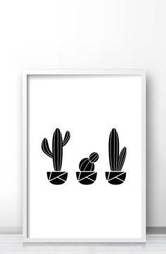 Printable cactus art, Modern geometric cactus wall art print, Black and white minimalist cactus home decor