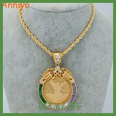 Anniyo Big Coin Necklaces for Women/Men Gold Color/Copper Mexican Peso With Cubic Zirconia Africa Coin Jewelry New Coin Jewelry, Coin Necklace, Pendant Necklace, Necklaces, Mexican Peso, Big Coins, Copper, Style Inspiration, Gold