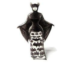 Victorian Bat Girl Brooch Halloween Jewlery Pin Costume Black and White Vintage Illustration Gothic