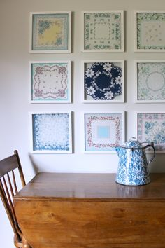 DIY Handkerchief Wall Art You all, this is one of my favorite DIY projects of all time. I have had my grandma's handkerchief's in a drawer for a few years. I absolutely love them but keeping them in a Diy Wall Art, Wall Decor, Home Crafts, Diy Home Decor, Handkerchief Crafts, Doily Art, Muebles Shabby Chic, Doilies Crafts, Vintage Handkerchiefs