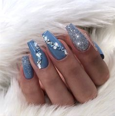 Blue Coffin Nails by MargaritasNailz from Nail Art Gallery
