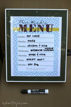 At Home Menu Board.