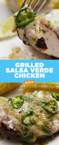 Grilled Salsa Verde ChickenDelish- this is so delicious. I make it with farro instead of white rice. It's great for taking to work for lunch too. Even better the second day. Pork Rib Recipes, Grilled Chicken Recipes, Turkey Recipes, Grilling Recipes, Mexican Food Recipes, Dinner Recipes, Cooking Recipes, Healthy Recipes, Grilling Ideas