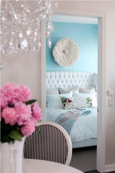 Pretty // girly glam bedroom // wall pouf // Tiffany blue