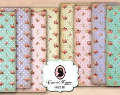 Digital Collage Sheet SHABBY ROSES Polka Dots Set by cameoshoppe, $4.30