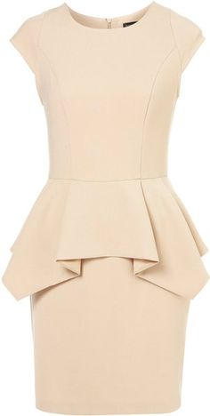 Topshop Peplum Pencil Dress in Beige (nude)