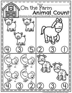 Preschool Farm Worksheets - Farm Animal Counting for Spring preescolar Preschool Farm Theme - Planning Playtime Preschool Lesson Plans, Preschool Learning, In Kindergarten, Teaching, Farm Theme Crafts, Farm Animal Crafts, Farm Activities, Animal Activities, Educational Activities