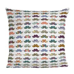 Mustache Mania Throw Pillow @Allison Ash