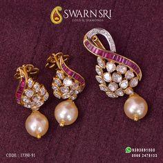 Exquisite pachi diamonds Pendant with Earrings by Swarnsri Gold & Diamonds, Vijayawada. For any queries please WhatsApp +91 9393891000, ☎️ 0866 - 2474133. #SwarnsriGoldandDiamonds #Swarnsri