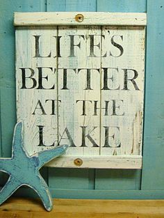 Life's Better at the Lake White Turquoise Layered Paint Weathered Wood Sign Beach House Signs, Beach Signs, Lake Decor, Coastal Decor, Lake Signs, Lake Beach, Lake Cabins, Lake Cottage, Weathered Wood