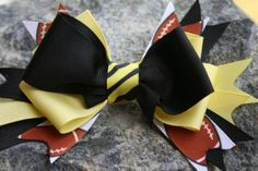Football black and yellow handmade hair by RockabillyBabyPlace, $3.00
