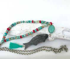 Ketten lang - lange Kette, türkis, Fisch, Sommer - ein Designerstück von moanda bei DaWanda