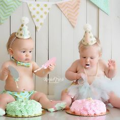 Girl Boy Twins 1st Birthday Gold Polkadot Small Party Hats - Cake Smash Photo…