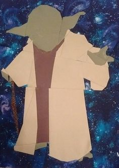 """Yoda by Kristi Lehane 12 x14 7/8"""" Paper Pieced  #Starwarsdesign Free from fandominstitches.com Free for personal and non-profit use only"""