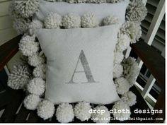 Monogrammed Drop Cloth Pom Pom Pillow Tutorial