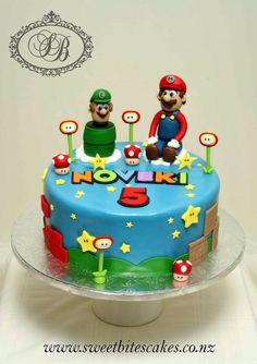 Super Mario Bros cake birthday party kids boys
