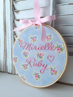 "Made To Order, Nursery Decor, Baby Girl Embroidery Hoop Art, 6"" Hoop, Vintage Inspired Cabbage Rose Fabric £15 etsy from canada"