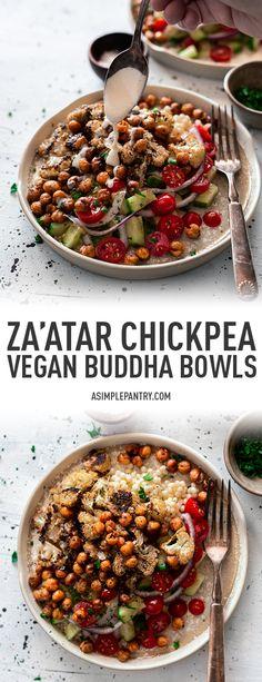 Za'atar Chickpea Vegan Buddha Bowl • A Simple Pantry Tahini Dressing, Super Simple, Vegetarian Recipes, Healthy Recipes, Healthy Foods, Vegan Chickpea Recipes, Healthy Dinners, Healthy Drinks, Vegan Food