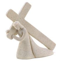"""Elegant semi-abstract sculpture depicts a timeless scene of inspiration as our Savior bravely bears his burden. A stunning combination of spiritual tribute and modern art mastery!Weight 0.8 lb. 6 3/4"""" x 1?"""" x 6?"""" high. Polyresin.  $19.95"""