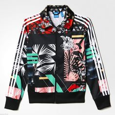 Adidas Originals Women Floral Football Firebird Soccer Track Top Jacket s M L | eBay
