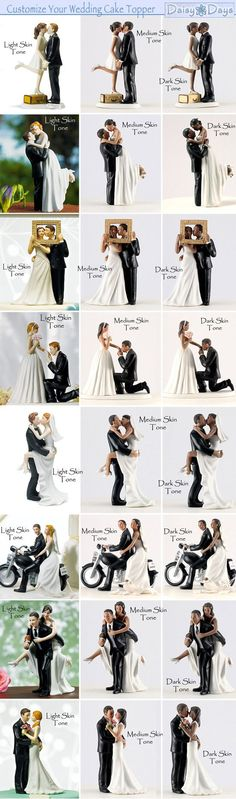 Customizable Wedding Cake Toppers to match your skin and hairtone