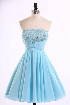 Light Blue Prom Dresses #LightBluePromDresses, Blue Prom Dresses #BluePromDresses, Chiffon Prom Dresses #ChiffonPromDresses, Short Prom Dresses #ShortPromDresses