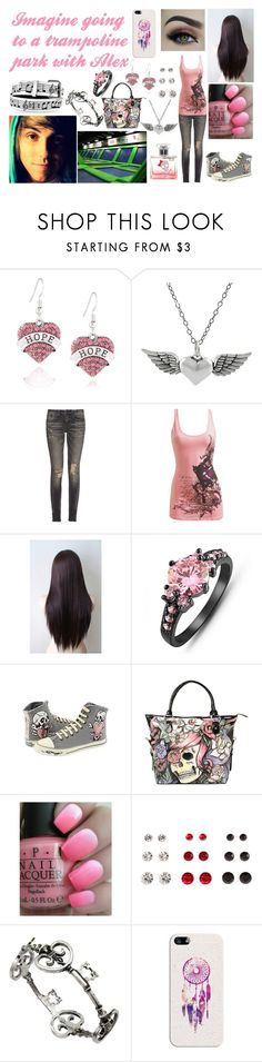 """""""Imagine going to a trampoline park with Alex"""" by megsjessd99 ❤ liked on Polyvore featuring Journee Collection, R13, Wet Seal, Ed Hardy, Iron Fist, OPI and Casetify"""