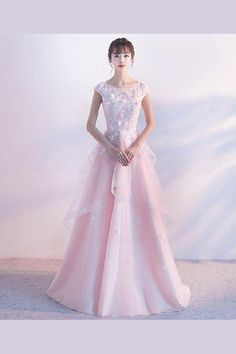 d7a3f68d19 Pink v neck tulle lace long prom dress