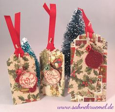 "Tag Die ""XXL Labels & Tags No. 05"" Crealies; Designerpaper 6x6 Paperpad ""A Christmas Story"" First Edition; Stamps and Dies - coordinating sets ""Christmas Ornaments small"" Leane Creatief; Glitter cardstock from Rayher; small bells from Marianne Design // Gift tags // Christmas decoration"