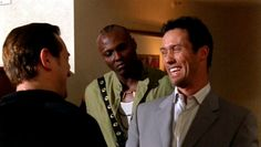 """""""No, no, no, no. I don't work for anybody directly that's why I get to do stuff like give you $750,000 to stop blowing up oil refineries."""" [Michael Westen]   Pictured: Michael Westen (Jeffrey Donovan), Boris (Dimitri Diatchenko), and Nigerian Thug (Jason Bartley)"""