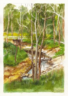Mullum Mullum Creek very close to its confluence with the Yarra River at Eltham, Victoria.  Pencil and watercolour painting by Dai Wynn on 300 gsm rough surface texture Arches french cotton paper. 29 cm high by 21 cm wide (11.75 inches by 8.25 inches) approximately - A4.  Available for sale at $210.