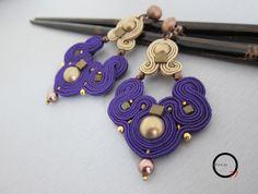Orecchini soutache viola/beige Soutache Pendant, Soutache Earrings, Queens Jewels, Fashion Jewelry, Women Jewelry, Diy Rings, Handmade Jewelry, Diy Jewelry, Ring Necklace