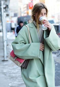 Shop this look on Lookastic:  http://lookastic.com/women/looks/grey-turtleneck-mint-coat-hot-pink-leather-crossbody-bag/7838  — Grey Turtleneck  — Mint Coat  — Hot Pink Leather Crossbody Bag