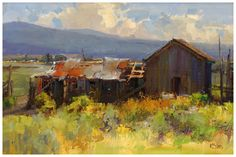 Kathryn Stats, Time Travel, oil, 12 x Farm Paintings, Paintings I Love, Landscape Art, Landscape Paintings, Southwest Art, Old Barns, Western Art, Plein Air, Art Oil