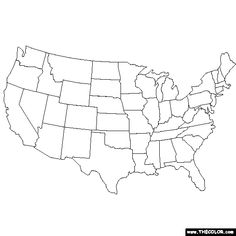 United States Map Printable Blk And White Color In Union - Coloring page us map