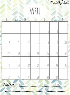 - AVRIL 2016 - Imprimes le calendrier pour customiser ton agenda. A voir: vidéo sur ma chaîne!