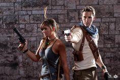 Lara Croft, Tomb Raider cosplay and Nathan Drake cosplay. Rise of the Tomb Raider. Uncharted 3. Photo by Bryan Humphrey.