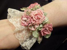 ribbon flower cuff by lambsandivydesigns.com, via Flickr Ribbon Flower, Fabric Flowers, Lace Flowers, Cloth Flowers, Textile Jewelry, Lace Jewelry, Fabric Jewelry, Ribbon Crafts, Fabric Crafts