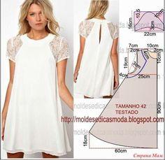 ΦΟΡΕΜΑ ΠΑΤΡΟΝ Εντυπωσιακό λευκό φόρεμα με δαντελένια μανίκια!! Ελαφρύ και αέρινο, με εύκολο πατρόν! Ένα διακριτικό άνοιγμα στην πλάτη, του προσδίδει χάρη και ομορφιά!!