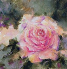 """Buy """"Romantic rose"""" - small size - mixed water media on canvas - 20X20 cm, Mixed Media painting by Fabienne Monestier on Artfinder. Discover thousands of other original paintings, prints, sculptures and photography from independent artists."""