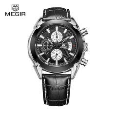 New megir fashion leather sports quartz watch for man military chronograph wrist watches men army style