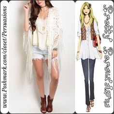 """SALENWT Lace & Fringe Boho Kimono Cardigan NWT White Lace & Fringe Boho Kimono Cardigan   Available in sizes: S/M & M/L  Measurements taken in inches from a size S/M Length: 28"""" Bust: 46"""" Waist: 44""""  Features:  • oversized, relaxed easy fit • stunning all over lace • kimono sleeves • fringe accents • open front  Bundle discounts available  No pp or trades ~ Item # 1o1-4-15-0210WK Pretty Persuasions Sweaters Cardigans"""